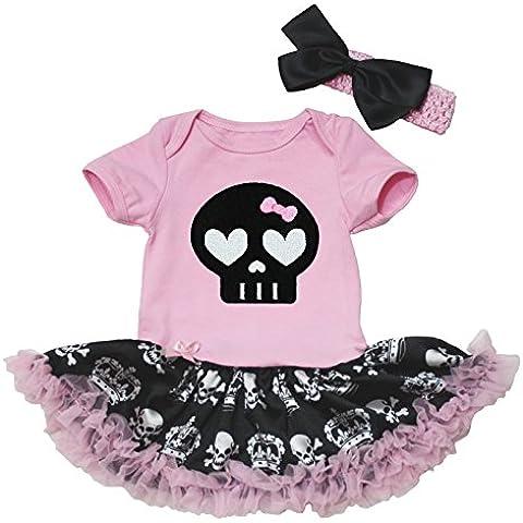 Pelele de algodón body de tutú de coronas de calaveras de cráneo de Halloween vestido negro Set