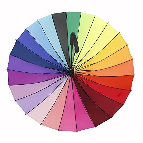 loveface Grand crochet arc-en-ciel Poignée umbrella-multi-coloured, 24 baleines