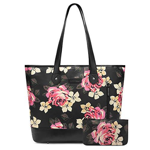 FOSTAK Damen Umhängetasche Aktentasche Messenger Bag Reisetasche Shopper Frauentasche Schultertasche Tote Bag Handtasche Businesstasche Arbeitstasche 15 Zoll Laptoptasche, Schwarze Pfingstrose -