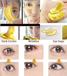 Hitece 10/20/30/50/60/80/100 pairs wholesale New Crystal 24K Gold Powder Gel Collagen Eye Mask Masks Sheet Patch, Anti Ageing Aging, Remove Bags, Dark Circles & Puffiness, Skincare, Anti Wrinkle, Moisturisin
