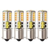 HGHC Ampoule LED BA15S 12 V AC/DC 1156 1141 S8 Seul Contact Base, étanche Lampe, 5 W Blanc chaud 3000 K 500LM pour Bateau, RV, Auto Voiture, extérieur Éclairage de Paysages, etc. (Lot de 4)