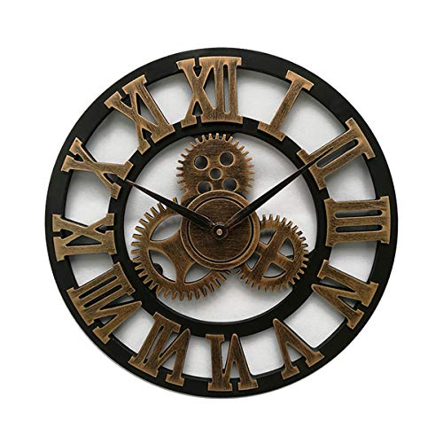 3D Gear Clock, Large Wall Clocks, Roman Numerals Clock, Vintage Silent Non Ticking Wood Clock Antique Retro Classic Ornament Clock Home Hotel Bar Office Decor (Gold/Silber),Gold,30 * 30cm -