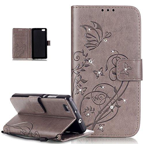 ikasus Compatible avec Coque Huawei P8 Lite,Bling Sparkle Diamant Motif Embosser Fleur Vines Papillons Housse Cuir PU Housse Portefeuille Flip Case Etui Housse Coque pour Huawei P8 Lite,Gris