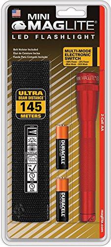 Multimode-led (Mag-Lite SP2203HF Mini Maglite 2AA Multimode Hochleistungs-LED-Taschenlampe, 17 cm rot inkl. 2 Mignon-Batterien und Nylonholster)