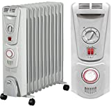 Futura Oil Filled Radiator 11 Fin 2.5KW 24 Hour Timer & Thermostat, Portable Electric Heater, Adjustable Temperature Control, 3 Power Settings, Thermal Safety Cut-out Switch (Grey)