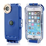 Moonmini 40m/130ft Professional Diving Cascara with Compass Submersible Underwater Waterproof Photo Housing Protective Funda Cover para Apple iPhone 6 4.7 Pulgada (Azul)