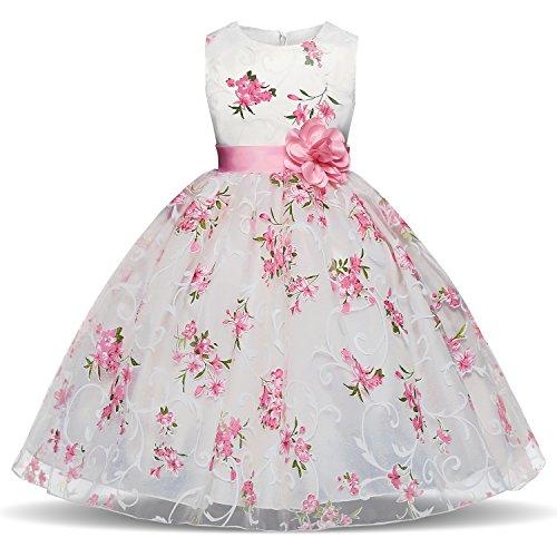 NNJXD Mädchen Festzug Blumen bedruckt ärmelloses Tüll-Kleid Größe(140) 6-7 Jahre Rosa