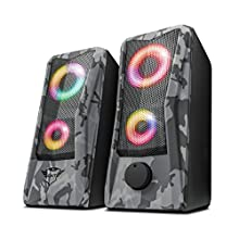 Trust Gaming GXT 606 Javv RGB-Illuminated 2.0 Speaker Set for PC and Laptop, USB Powered, 12W - Grey