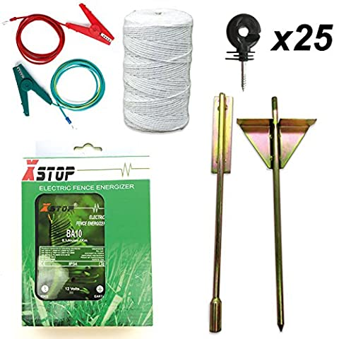 Electric Fence Energiser Fencer Energizer X-Stop 12v Battery Powered 1Km 0.1 Joules BA10 + all leads + heavy duty earth stake + Polywire + 25 ring insulators