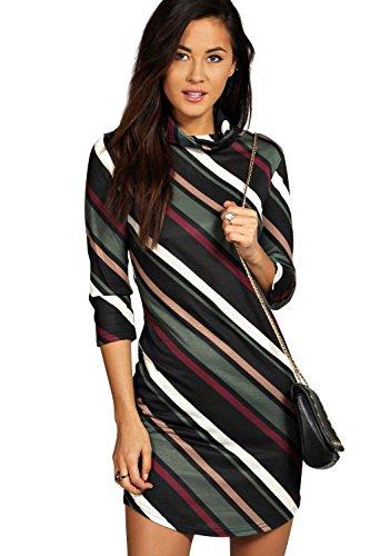 Kaki Dia Stripe Curved Hem Cowl Bodycon Dress Kaki