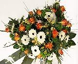 Grabgesteck in Weiß, Gelb und Orange mit Rosen - Ein letzter Gruß Größe 135 Euro