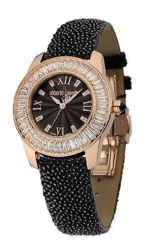 Roberto Cavalli Fugit R7251147525 - Reloj de mujer de cuarzo, correa de piel color negro