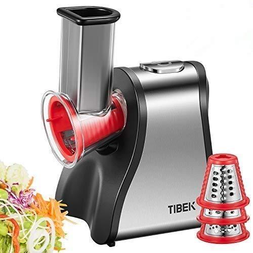 tibek rallador electrico, cortador de verduras eléctrico 200w con 6 accesorios y tubo de alimentación grande, perfecta para sus verduras, frutas y batidos, sin bpa (plata/rojo)