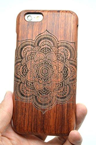 iPhone 6s Hülle (4,7 Zoll), Holzsammlung® Holz Tasche für iPhone 6s (Kirschholz Indischen Buddha) - Holzsammlung® Handgefertigt Hölzernen Fall und Abdeckung für Ihr Smartphone und Tablet PC Roseholz Mandala Blume