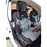 Para adaptarse a un Nissan Terrano 2, fundas para asiento, Bo 2Rossini Malla Deportivo Gris + Negro, 2frentes