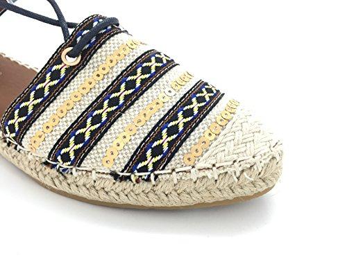 CHIC NANA . Espadrilles à lacets, bout fermé motif brillant blue