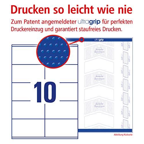 Avery Zweckform 3425 Adressaufkleber A4 mit ultragrip (105x57 mm, 100 Blatt, Papier, matt, bedruckbare, selbstklebende Adressetiketten) 1.000 Klebeetiketten weiß