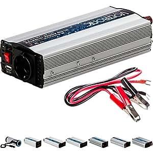 VOLTRONIC modifizierter Sinus Spannungswandler 12V auf 230V, Stromwandler in 7 Varianten: 200 - 3000 Watt, Wechselrichter mit e8 Norm