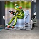 LNAG DuschvorhäNge 3D-Digitaldruck-Polyester-Wasserdichtes Toiletten-Frosch-Badezimmer , 180*200cm