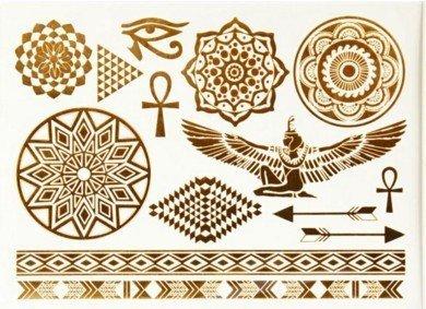 ÄGYPTISCHE MOTIVE MANDALA GOLD METALLIC TATTOOSchmuck Tattoo Kleber für Körper Nr.330b