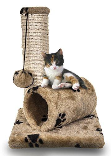 FiNeWaY Piccolo gattino gatto sisal scratch post giocattolo con tunnel & Play mouse Pet attività