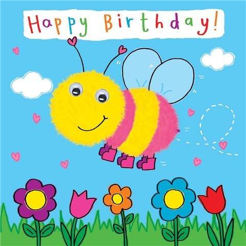 ay Karte für Kind mit Bumble Bee und kommt Kulleraugen-Kinder Geburtstag-Mädchen Geburtstag Karte-Jungen Geburtstagskarte ()
