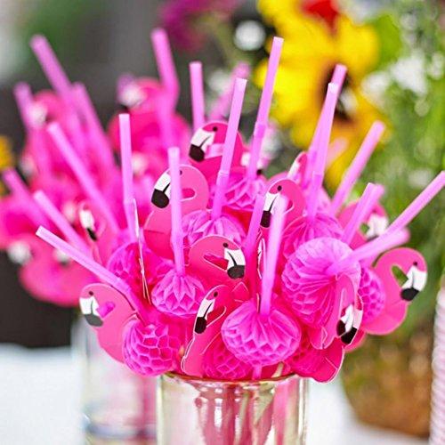 flybuid 50Flamingo Honeycomb Trinkhalme für Hawaiianische Party/Geburtstag/Hochzeiten/Pool Cocktail Party Supplies Tropische Getränke Dekorationen Einheitsgröße rosarot