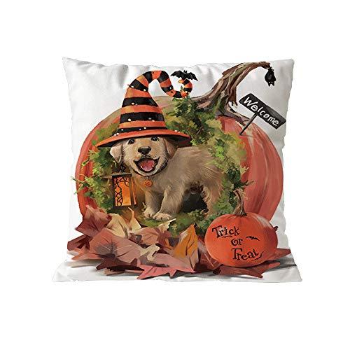 Spielzeug -Artistic9 Halloween Kissenbezüge 18X18 Animierte Hexe Hund Zombie Print Kissenbezüge Standard Platz Kissen Baumwolle Sofa Couch Bett Auto Kissen Kissenbezug Hause Dekorative (Vogel Kostüm Für Hunde)