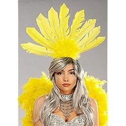 Struts Fancy Dress Rio Carnaval Showgirl Plume Jaune Bandeau