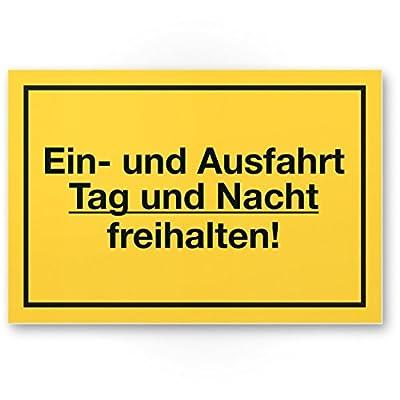 Ein- und Ausfahrt Tag- und Nacht Freihalten Schild (gelb, 30 x 20cm), Warnhinweis - kostenpflichtig abgeschleppt, Hinweisschild Einfahrt - auch gegenüber, Parken verboten - Parkverbot, Halteverbot