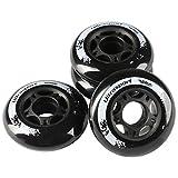 Ultrasport Roues de roller, bonne adhérence, pour usage en extérieur et en intérieur, lot de 4 roues, noir, diamètre de 76 mm