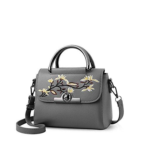 NICOLE&DORIS Frauen Top Handle Handtaschen Umhängetasche Crossbody Tasche Mädchen Kleine Tasche Tote Geldbörse PU Leder Dunkelgrau