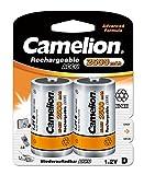 Camelion 17025220 Akku (NiMH, Mono, R20 (D), 2500 mAh, 2er-Pack)