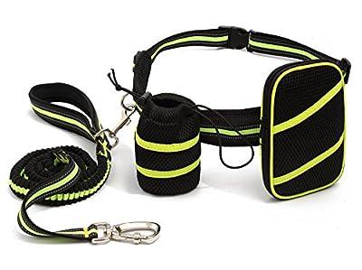HOGAR AMO Hände Frei Elastisch Hundeleine (135-225cm) Reflektierende Joggingleine Nylon Laufgürtel Verstellbarer Hunde Leine für Jogging Laufen Spazieren Gassi Fahrrad