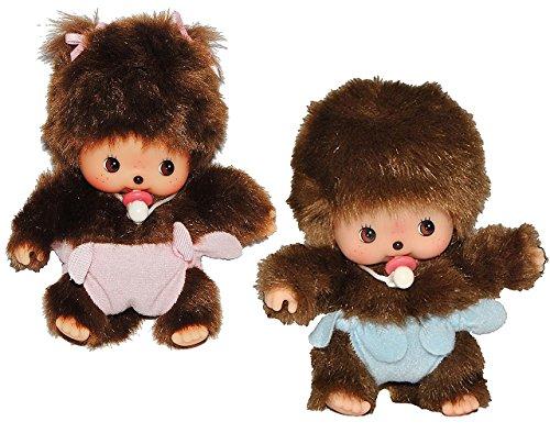 2 tlg. Set: Bebichhichi Baby - Mädchen + Junge - mit rosa / pink + blauer - Windel und Schnuller - Monchichi klein 14,5 cm mit Schleife - Hose...