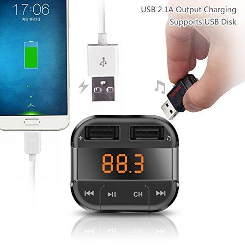 perbeat Bluetooth FM Transmitter Auto mit 2USB Ladekabel 3,4A Ausgang Anschlüsse, unterstützt USB-Stick Micro SD Karte mit Musik-Fernbedienung (schwarz) - 4