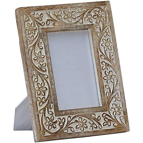 Quadro con cornice - di alta qualità - decorativo - Cornice fotografica – Shabby Bianca portafoto in Legno – 4x6 Pollici – 10x15 centimetro