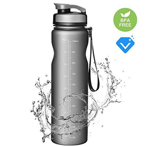 OMORC Gourde en Plastique Tritan 1 l sans BPA Vert Idéale pour la Gym, Le Yoga, Le Vélo, la Course, Les Activités de Plein air, en Voyage, pour l'athlétisme, Le Tennis, au Bureau