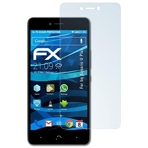atFolix Schutzfolie kompatibel mit bq Aquaris U Plus Folie, ultraklare FX Displayschutzfolie (3X)