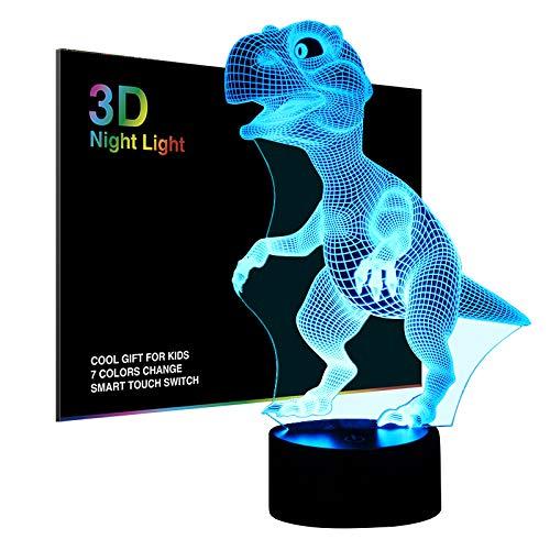 Dinosaurier 3D Lampe Nachtlicht Optische Illusions, Tiscen 7 Farbwechsel Acryl berühren Tabelle Schreibtisch Lampe für Kinder Schlafzimmer Weihnachten Geburtstagsgeschenke