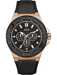 amazon co uk guess watches guess men s force 45mm black leather band steel case quartz watch w0674g6