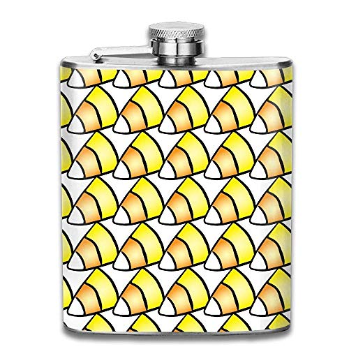 tterns Candy Corn Fashion Portable Stainless Steel Hip Flask Whiskey Bottle for Men and Women 7 Oz ()