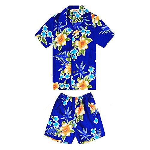 Chico-Camisa-hawaiana-y-pantalones-cortos-Cabana-Set-en-Hibiscus-Blue-Tamao-2