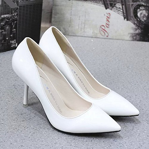 Damen Pumps Slip On Spitz Zehen Stilettos Arbeitschuhe Lackleder Tragen OL  Beständige Schuhe Weiß ... 144b23b0f1