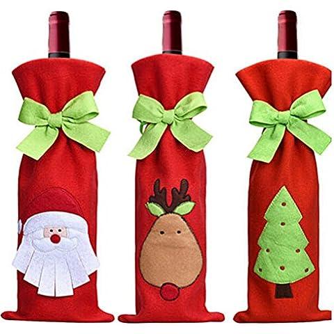 YARBAR 3pcs Santa Claus botella de vino roja de la cubierta del vino bolsas con bonitas bolsas de lazo del regalo de Navidad Set - Santa, reno y del partido del árbol de cocina del hotel de los regalos Decor
