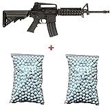 CYMA CM307 Kit regalo con fucile d'assalto M4 RIS a molla, da softair, nero, 6 mm, 0,5 joule, 2 sacchetti da 600 pallini inclusi