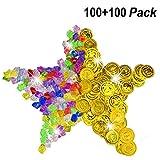 BESTZY 100 Stück Goldmünzen des Piratenschatz Spielzeugs und 100 Piraten Schmucksteine Diamanten Set,Schätze für Piraten Gold Taler die Piraten-Partys Mitgebsel Kinder Geburtstag Spielzeug