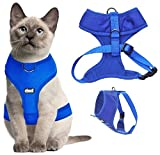 Dexil Luxury Cat Harness Padded and Water Resistant (Blue L-XL)