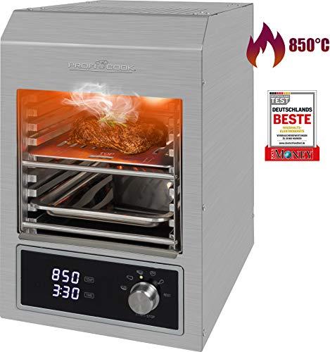 ProfiCook PC-EBG 1201 Elektrischer Indoor Beef-Grill mit 850°C, Keramik-Infrarot Hochleistungsbrenner mit 1600W für perfekte Steak-Ergebnisse, Grillen ohne Gas & Kohle, Indoor- & Outdoor-Nutzung