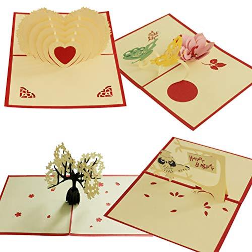 4PCS POP-UP-Karte 3D Paper Craft Grußkarten Cherry Blossoms Vorschlag Geständnis Schmetterling Pfirsich Blume-Freundinnen, Sweetheart, Frau-happy birthday Goft, Jahrestag Einladung Karte